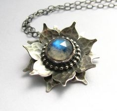 Sterling Silver Rainbow Moonstone Lotus Necklace - Artisan Metalsmithed Argentium Gemstone Flower Jewelry on Etsy, $244.50 AUD