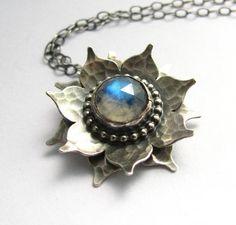 Sterling Silver Rainbow Moonstone Lotus Necklace - Artisan Metalsmithed Argentium Gemstone Flower Jewelry on Etsy, $244.50 AUD