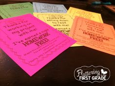 Homework Passes for Responsible Classes ~ Use as class rewards and homework incentives. :)