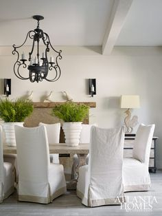 White and Neutral Dining Room // Atlanta Homes & Lifestyles