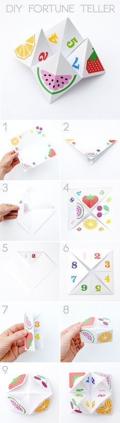 """Free printable fruity """"cootie-catcher"""", aka fortune teller, aka chatterbox! Get more free printables at http://www.pinterest.com/hre/"""