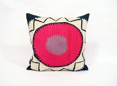Suzani Pillow - Hot Pink and Lilac Whorl - 16 x 16
