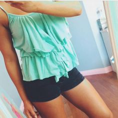 Urban outfitters Ruffles tank top Urban outfitters Silence & Noise Tiffany green colored shirt. Super cute with ruffle details. silence + noise Tops Tank Tops