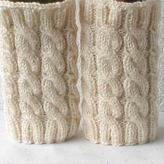 Knit Cable Leg Warmers Knitted Boot Cuffs  Ivory by AlbadoFashion, $29.00