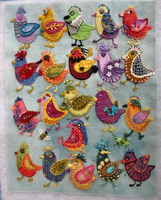 Getting Older: embroidery Wool Applique Quilts, Wool Applique Patterns, Wool Quilts, Wool Embroidery, Felted Wool Crafts, Felt Crafts, Bird Quilt, Wool Art, Felt Birds