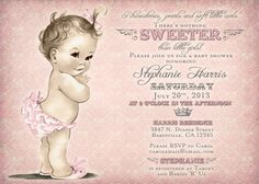 Girl Baby Shower Invitation Vintage Baby Shower Invitation For Girl - Antique - Pink - FREE SHIPPING or DIY Printable