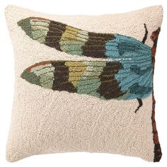 Hand-hooked wool pillow with a blue dragonfly motif. Product: PillowConstruction Material: Wool cover and polyester fillColor: MultiFeatures: Insert includedHand-hooked Dimensions: 18 x and Care: Spot clean Hook Punch, Rug Hooking Designs, Blue Dragonfly, Punch Needle Patterns, Rugs And Mats, Rug Inspiration, Wool Pillows, Cushions, Throw Pillows