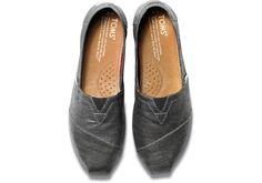 Simple with a little sparkle. Black metallic linen TOMS Classics.