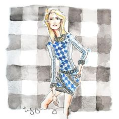 Denim Houndstooth Fashion Illustration 8 x 8