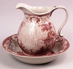 Red Toile Pitcher and Bowl Countryside Castle Scene