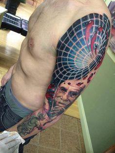 Tattoo. Black hole and Einstein.