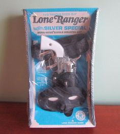 Original 1966 LONE RANGER SMOKING SILVER SPECIAL BOXED GUN & HOLSTER MASK SET #Mattel