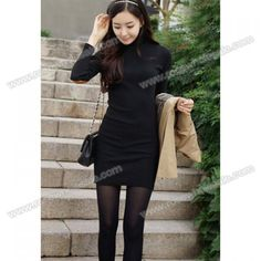 Laconic High Neck Color Block Patch Splice Long Sleeve Thicken Slim Fit Plus Size Cotton Blend Dress For Women