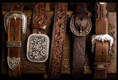 Leather belts, western, silver buckles, brown