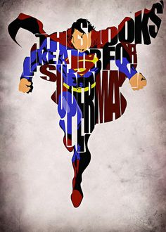 Superman Inspired Man of Steel Typographic Print and Poster via Etsy Dc Heroes, Comic Book Heroes, Comic Books Art, Comic Art, Book Art, Hero Marvel, Marvel Vs, Marvel Dc Comics, Superman Logo