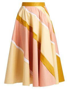 Roksanda Striped cotton-blend A-line skirt