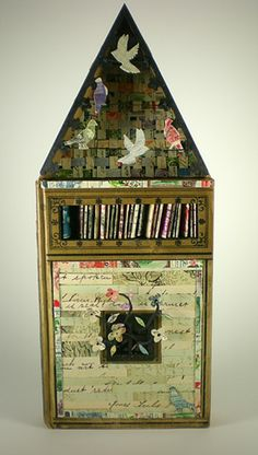 "Leslie Patterson-Marx Homing Pigeon House 2011 found book, book cloth, wood, acrylic paint, paper, vintage stamps 5"" x 9"" http://lesleypattersonmarx.com/artwork/3223131_Homing_Pigeon_House.html"