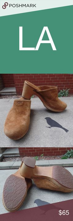 UGG AUSTRALIA ABBIE SUEDE CLOGS Excellent used condition.  Worn a few times.  Slightly scuffed on front of left shoe. UGG AUSTRALIA ABBIE SUEDE CLOGS Shoes Mules & Clogs