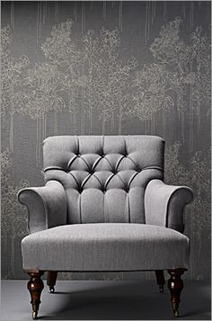 ♅ Dove Gray Home Decor ♅ grey tufted chair with fabulous wall treatment
