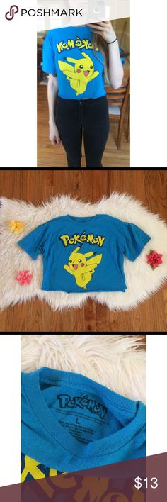 00's Vtg Pikachu Pokémon Crop Tee ⭐️ Super cute early 2000's Pokémon crop tee! Features the cutest Pikachu graphic on the front of a bright blue tee. Raw cut bottom hem. Graphic is a tiny bit faded up close but nothing major! Looks amazing with some high waisted jeans or shorts! A classic piece for any Pokémon lovers closet! Says size large but best fits sizes xs to medium! Not Unif! Modeled on a size xs :)  Measurements: Total Length (top of shoulder to bottom hem)- 15.5 inches  Bust- 19…