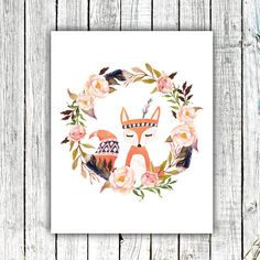 Nursery Art Printable, Hand drawn Fox, Floral Wreath, Tribal Feather, Aztec, Watercolor, Size 8x10 #419
