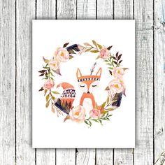 Nursery Art Printable, Hand drawn Fox, Floral Wreath, Tribal Feather, Aztec, Watercolor, Size 8x10 #419