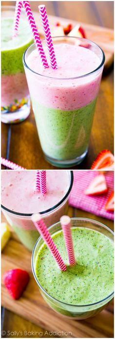 A slim-down super food power smoothie recipe filled with super foods including spinach, strawberries, flax, and apple. Refreshing and nutrient packed!