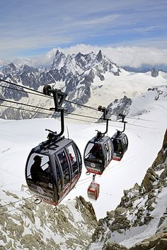 Cable cars approaching Aiguille du Midi, Mont Blanc Massif, Chamonix, French…