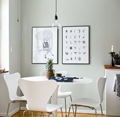 Grey walls for the win - via Coco Lapine Design Blue Grey Walls, Bleu Pale, Small Apartment Interior, Cosy Room, Tulip Table, House Ideas, Dining Nook, Kitchen Layout, Design Kitchen
