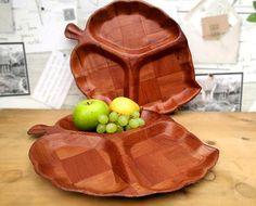 Mid century snack serving trays Leaf shape wooden parquet