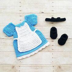 Crochet Baby Alice In Wonderland Inspired Dress Bow Headband Shoes Set Costume Dress Up Handmade Disney Inspired Baby…