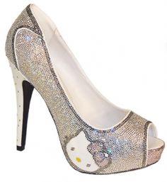 Hello Kitty Rhinestone Peep Toe Platform Heels