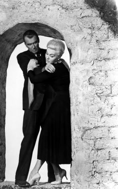 "James Stewart and Kim Novak in ""Vertigo"" (1958). COUNTRY: United States. DIRECTOR: Alfred Hitchcock."