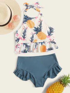 Floral & Pineapple Ruffle Hem Tankini   ROMWE USA
