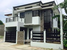 Location: Vermont Royale, Antipolo City Modern Zen 2 Storey Residence DESCRIPTION: Master's Bedroom with toilet & bath, Walk-in Closet & Balcony 2 Bedrooms w/ common toilet & bath Famil… Modern Zen House, Modern House Facades, Contemporary House Plans, Modern House Plans, Zen House Design, Two Story House Design, 2 Storey House Design, Two Storey House, Modern House Philippines