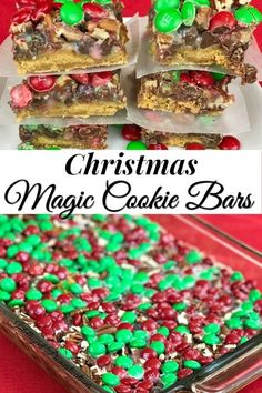 Christmas Magic Cookie Bars are a classic Christmas dessert easy recipe. We have been making this sweet treat in my family for many years. Cookie Bars are the way to go when Christmas Desserts Easy, Christmas Food Gifts, Christmas Baking, Easy Desserts, Christmas Cookies, Christmas Brownies, Christmas Fun, Christmas Breakfast, Holiday Gifts