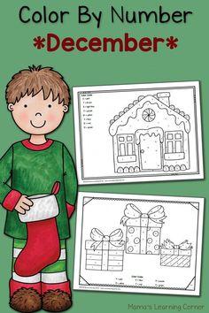 Color By Number Worksheets: December! Christmas Worksheets, Christmas Math, Christmas Activities For Kids, Preschool Christmas, Preschool Activities, Preschool Education, Preschool Classroom, Preschool Learning, Christmas Color By Number