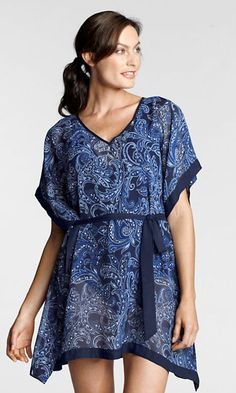 bfe84e3f04025  Lands  End. Chiffon Etched Paisley Cover-up. So whimsical for day