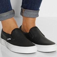Black Leather Vans Black Perf Leather Slip on Vans size 5 women's - great condition Vans Shoes
