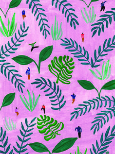 Art print of original gouache painting by Helo Birdie - Pink jungle whimsical art - pink art print - jungle art print - tropical art print Approx dimensions : Pattern Illustration, Graphic Design Illustration, Critique D'art, Jungle Art, Tropical Art, Motif Floral, Whimsical Art, Illustrations Posters, Floral Illustrations