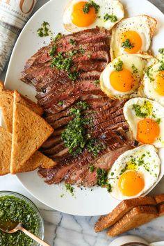 Breakfast For Dinner, Breakfast Dishes, Breakfast Recipes, Damn Delicious Recipes, Egg Recipes For Dinner, Fancy Dishes, Skirt Steak, Steak And Eggs, My Favorite Food