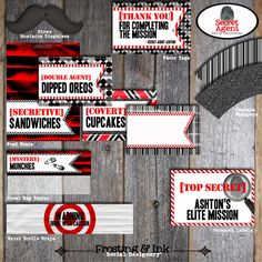 Spy Party - Secet Agent Party - Complete Collection - Toppers, Bunting Banner, Favor Tags, & More - Customized Printable (Birthday Party). $38.00, via Etsy.