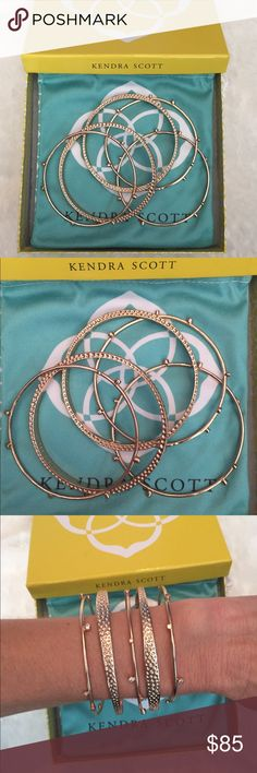 NWOT✨With box✨Kendra Scott Tatum Stacking Bangles Brand new never worn, Kendra Scott Tatum stacking bangles in rose gold. This bold and beautiful bangle set brings a little glam to the everyday. Wear one bracelet alone or stack them all to make a statement! Set of 5. Never worn. Comes with original box and dust bag. Perfect gift! No trades, reasonable offers considered. Kendra Scott Jewelry Bracelets