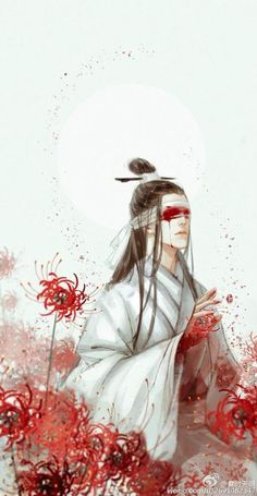 This is your punishment. You betrayed your heart, and now your eyes will betray you. - Xue Yang Fanart of Xiao XingChen from The Grandmaster of Demonic Cultivation or Mo Dao Zu Shi by Mo Xiang Tong Xiu. Chinese Artwork, Chinese Painting, Manga Art, Anime Art, Red Spider Lily, Carpe Koi, Loli Kawaii, Wow Art, China Art