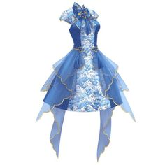 """[[caption id="""""""" align=""""aligncenter"""" robe bleue Dress Drawing, Drawing Clothes, Fashion Design Drawings, Fashion Sketches, Cute Dresses, Beautiful Dresses, Anime Outfits, Fashion Outfits, Kleidung Design"""