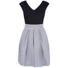 Buy Almari Stripe Taffeta Contrast Dress, Black and White from our Women's Dresses Offers range at John Lewis & Partners. Fit Flare Dress, Fit And Flare, Taffeta Dress, Striped Dress, Dress Black, V Neck Dress, Day Dresses, High Waisted Skirt, Contrast