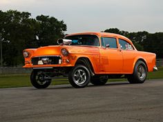 """Dave VerSchave's 1955 Chevy Gasser is an impressive street-legal, wheelstanding """"Orange Krate"""" capable of low-10-second runs and shows race fans won't forget."""