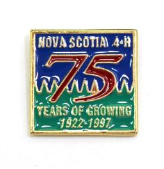 Nova Scotia Club 75 Years Of Growing 75 Years Of Growing Hat Pin or Lapel Pin Hat Pins, Nova Scotia, Lapel Pins, Club, Store, Logos, Hats, Ebay, Hat