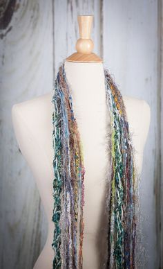 Handmade Spring Scarf Robin Egg with Blue, Green and White Hand Knit Yarn Accent Strands on Etsy, $35.00