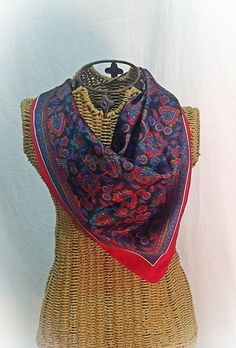 Vintage Scarf Red Black Green Paisley Square by MyVintageStyles, $15.00